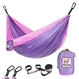 Kids Hammock for Camping or Hiking - Portable Parachute Nylon Hammock - Best Choice for The Family time, Lavender & Pink