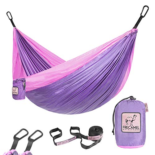 Kids Hammock for Camping or Hiking  Portable Parachute Nylon Hammock  Best Choice for The Family time Lavender amp Pink