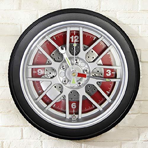 JUN Wohnmöbel Wanddekorationen Kunst Wanduhr Personalisierte Autoreifen Großer Tisch Verbunden mit der Uhr Quarzuhr Kreative Uhr,rot
