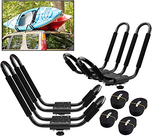 uyoyous 2 Pairs Universal Kayak Canoe Top Mount Carrier Roof Rack 150lbs Top Mount J-Bar Canoe Carrier Canoe Boat Surf Ski Roof Bracket Folding J-Style Crossbar Car SUV Kayak Holder