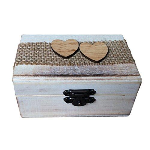 Caja de Madera de Anillos de Novios Sostenedor de Anillo de Ceremonia de Boda Caja de Joyería con Musgos Secados Removibles - Corazón