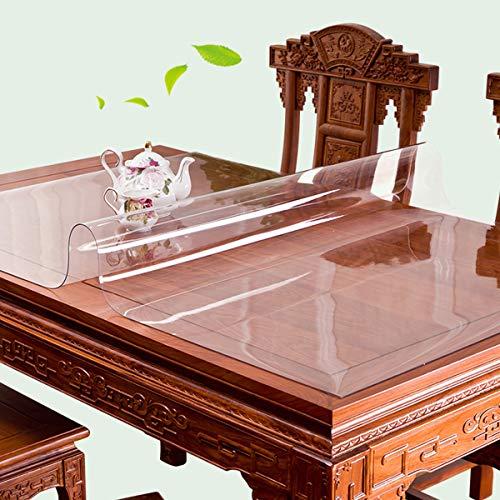 Robuuste tafelkleedbeschermer, 1,5/1 / 2mm dikke kristalheldere tafelkleedbeschermer Waterdichte PVC-beschermende tafelbeschermer, voor bijzettafel/nachtkastje, salontafel,1.5mm,100X200CM/39X79Inch