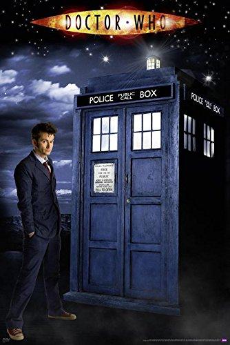 Doctor Who Poster/Glow-In-The-Dark/leuchtet im Dunkeln - The Doctor & The Tardis + 2 St. Schwarze Posterleisten mit Aufhängung