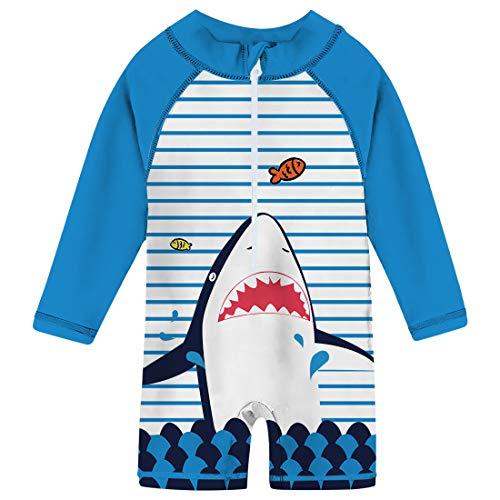 uideazone Baby Boys Striped Shark Swimsuit Long Sleeve One Piece Swimwear Summer Beach Bathing Suit Beachwear for Lovely Kid 24-36 Months