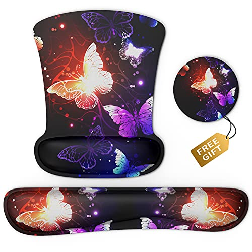 Ergonomic Mouse Pad Wrist Support & Keyboard Set Memory Foam Non-Slip Rubber Base Cute Mouse Mat Coaster for Home,Computer,Office Easy Typing and Relieve Wrist Pain - Glowing Butterflies