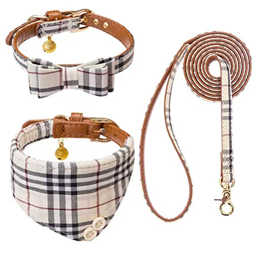EXPAWLORER Bow Tie Dog Collar and Leash Set Classic Plaid Adjustable Dogs...