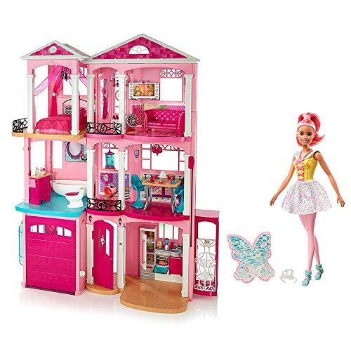Barbie FFY84 - Traumvilla Puppenhaus Geschenkset mit Dreamtopia Fee Puppe, Puppen Spielzeug und Puppenzubehör ab 3 Jahren