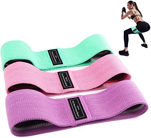 GESAR Bandas elásticas para fitness – Juego de 3 bandas elásticas de colores – Bandas de tela – 3 niveles de resistencia – Yoga – Pilates – Gimnasio