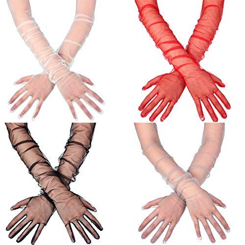4 Paare Damen Lange Tüll Handschuhe Bloße Hochzeit Braut Handschuhe Ellenbogen Lange Opern Party Handschuhe
