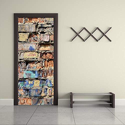 GVRPV Etiqueta De La Puerta 3D por Pegatinas Ladrillos Rotos Sala De Estar Dormitorio por Decoración Pegatinas De Pared Papel Pintado Autoadhesivo Impermeable-85cm(W)*215cm(H)