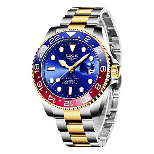 LIGE Reloj para Hombre, Moda Militar Deportes Resistente al Agua Acero Inoxidable Resistente a los Arañazos Cronógrafo Cerámica Clásico Lujo Digital Analógico Cuarzo Reloj