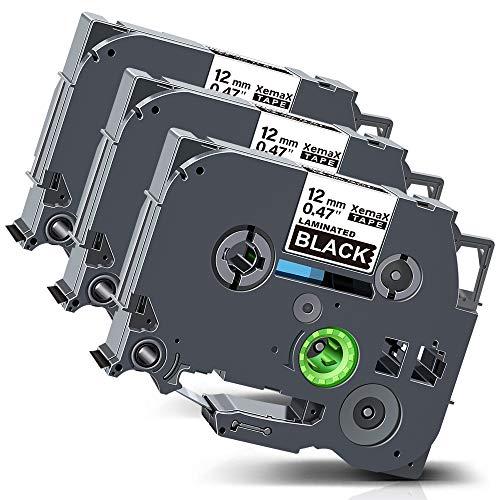 Xemax Compatibile Nastro 12mm x 8m Sostituzione per Brother P-Touch Tze-335 Tz-335 Bianco su Nero Laminato Cassette per PT-H105 PT-H300 PT-H101C PT-1010 PT-P750W PT-H100P PT-1000 PT-D400VP, 3 Pacco