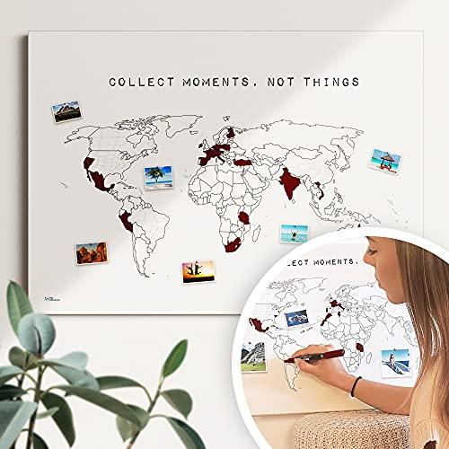 """Weltkarte Reiserinnerung: \""""collect moments\"""" - Reiseweltkarte zum ausmalen, Weltkarte zum pinnen - nachhaltig & handemade in Germany, Weltkarte zum rubbeln - ist out - Größe: 60x40cm"""