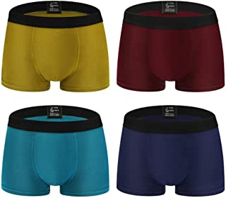 Men's 4 Pack Underwear Comfort Soft Modal Short Boxer Briefs Low Rise Mens Underpants