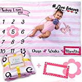 """Baby Monthly Milestone Blanket by Tiny Gifts – Large (60x40"""")..."""