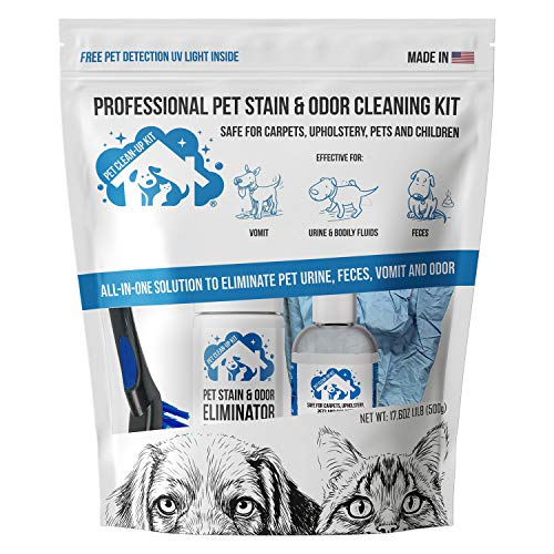 Professional Pet Stain & Odor Cleaning Kit   Carpet Stain Remover - Clean Dog and Cat Urine, Feces, Vomit - Eliminate Odor & Smell Instantly
