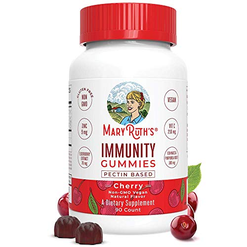 Immunity Gummies for Kids & Adults (5-in-1) by MaryRuth's - Organic Ingredients - Elderberry, Echinacea, Vitamins C, D & Zinc - Vegan Non-GMO Gluten-Free Pectin-Based Cherry 90ct (Healthy Things To Snack On At Night)