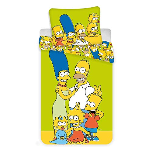 The Simpsons Family Gren Bettbezug-Set, 100 % Baumwolle