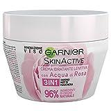 GARNIER SkinActive Crema Viso Lenitiva Idratante 3 in 1 Giorno, Notte e Maschera, Arricchita con Acqua di Rose, Confezione da 1, 150 ml