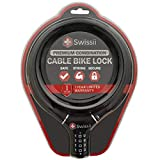 Swissii Combination Cable Bike Lock - Heavy Duty, Perfect for Bicycles, Scooters