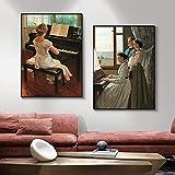 VCFHU Play Piano Girls Posters Prints Figura Lienzo Pintura Al óLeo Cuadro De Arte De Pared Vintage para Salon De Estar GaleríA Interior Decoracion del Hogar 40x60cmx2 Sin Marco
