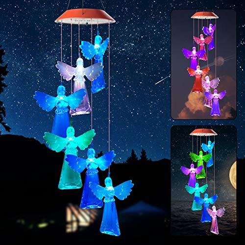Angel Wind Chimes Outdoor String Light Wind Chimes Solar Wind Chimes Outside Mom Sweet Gift Christmas Light Cherub Angel Garden Light Xmax Ornaments