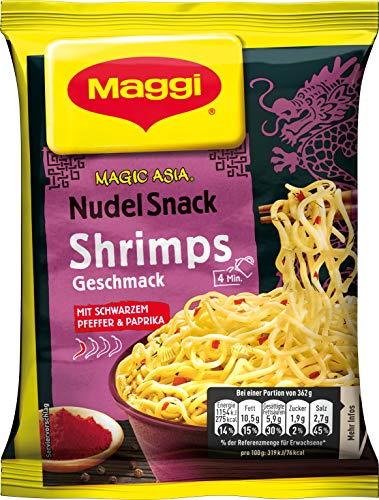 Maggi Magic Asia Instant Nudel Snack Shrimp, leckeres Fertiggericht, Instant-Nudeln, mit aromatisch-pikantem Shrimp-Geschmack, 12er Pack (12 x 62g)
