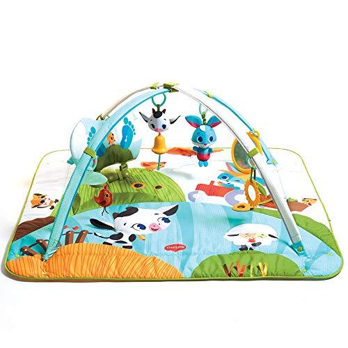 Tiny Love Kick and Play Fattoria, Palestrina Neonato educativa e multiattività, con cuscino musicale rispondibile ai calci del bambino, archi gioco e sonagli neonato, Animali della Fattoria