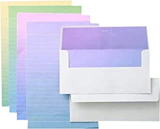 QingLanJian Graduated Color Stationary Paper and Envelopes Set-32 Sheets Writing Paper + 16 Envelopes