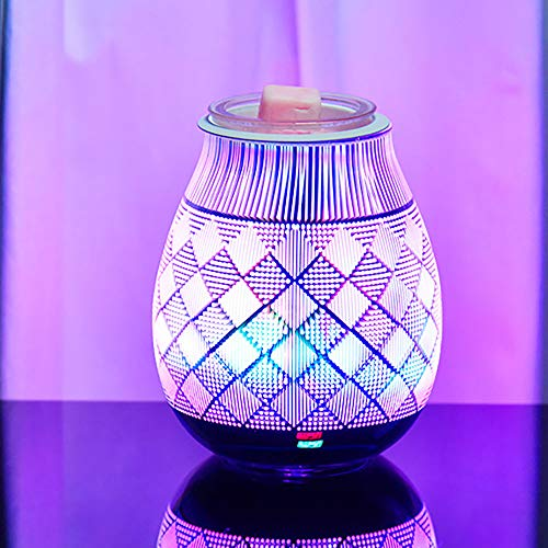 BIOBEY 3D Glass Aroma Wax Burner Lamp, Colorful Oil Burner Night Light Wax Melt Burners Oil Candle Melter Scented Tart Fragrance Aroma Warmer for Home Office Bedroom Living Room Gifts