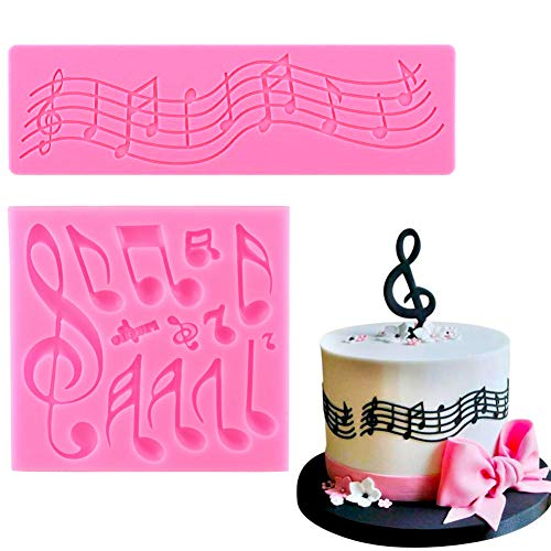 Sakolla (Set of 2) Music Note Fondant Silicone Molds,Music Note Lace Mat,Cake Decorating Tool Candy Mold Baking Tool Cupcake Topper Decoration