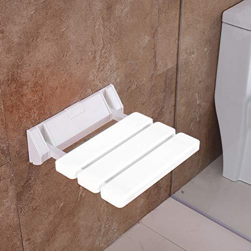 GOTOTOP Asiento de pared plegable para ducha, taburete para personas mayores de plástico y aluminio, blanco, capacidad de carga de 130 kg 🔥