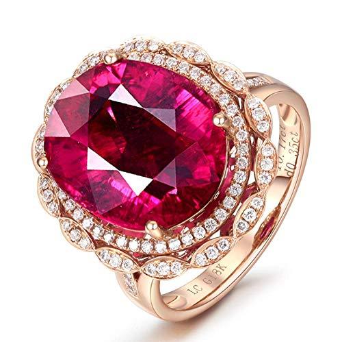 Live Ring Volledige Diamant Micro-Set Zirkoon Ring Robijn Kleur Schat Enkele Ring Dames Eenvoudige Wilde Sieraden Rose Goud