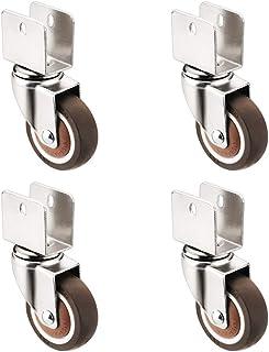 Furniture Castors - 4 Pieces, Rubber Brake Casters, 360° Rotation, U-Shaped Splint Installation, Dustproof and Noiseless