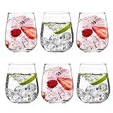 Set de 6 Vasos de Agua y Bebidas Alcohólicas, Vasos de Cristal Lisos y Transparentes, Aptos para Lavavajillas (360ml)