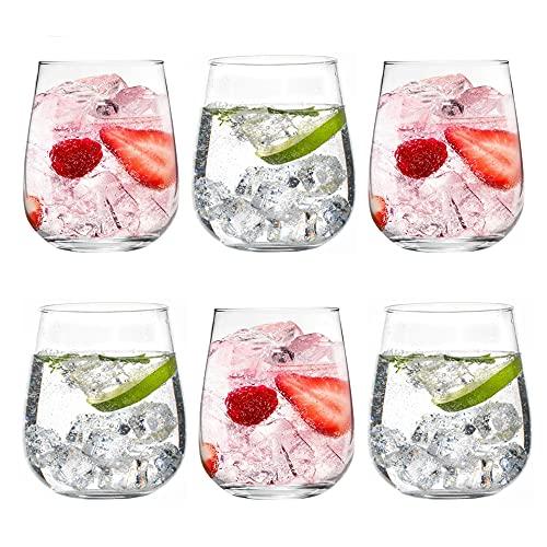 Unishop Set de 6 Vasos de Agua, Vasos de Cristal Transparentes, 360ml de Capacidad