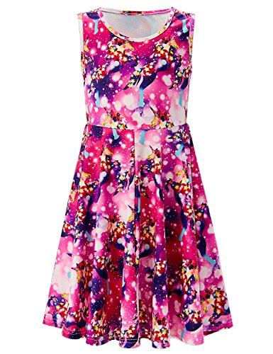 Kid Girls Midi Dresses Casual Summer Printed Unicorn Sleeveless Dress Round Neck Loose Fit Sleeveless Skirt 8-9Years