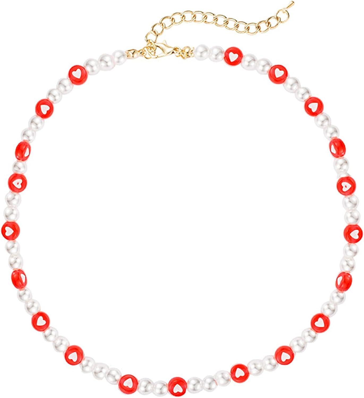YANCHUN Beaded Smiley Face Necklaces for Women Cute Pearl Choker Handmade Beaded Choker Summer Jewelry for Teen Girls
