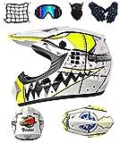DRYT Casco de motocross profesional, adultos y niños Casco Motocross Enduro MTB con Gafas/Máscara/Guantes/Red Elástica, Casco Cross Quad Off Road ATV Scooters (C,M: 57-58 cm)