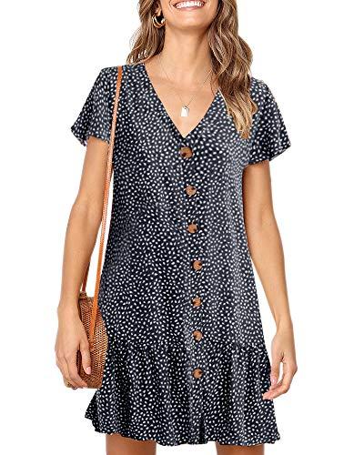 Imysty Womens Polka Dot V Neck Button Down Ruffles Loose Mini Short T-Shirt Dress Navy Blue