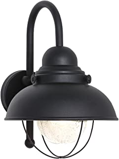 Sea Gull Lighting 8871-12 Sebring One-Light Outdoor Wall Lantern with Clear Seeded Glass Diffuser, Black Finish