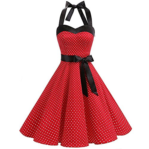 TEBAISE Damen Vintage Retro 1950er Rockabilly Neckholder Kleid Knielang Polka Dots Elegant Festlich Cocktailkleider Sommer Karneval Fasching Fasnacht Business Party Abendkleid