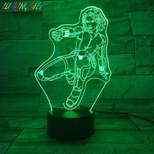 Lampe Illusion 3D Led Veilleuse Enfants Veuve Noire Marvel Comics The Avengers Uperhero Enfants Garçon Cadeau D'anniversaire Lampe De Bureau