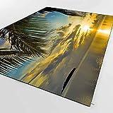 Else Tropical Green Palmeras Sea Side Sun Set 3D Impresión Antideslizante Microfibra Salón Decorativo Moderno Lavable Área Alfombra Alfombra