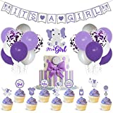 Faisdodo Purple Elephant Baby Shower Decor Purple and Gray It's a Girl Banner Cake Topper Cupcake Toppers Latex Balloons for Girl Baby Shower Purple Little Peanut Welcome Baby Birthday Party Supplies