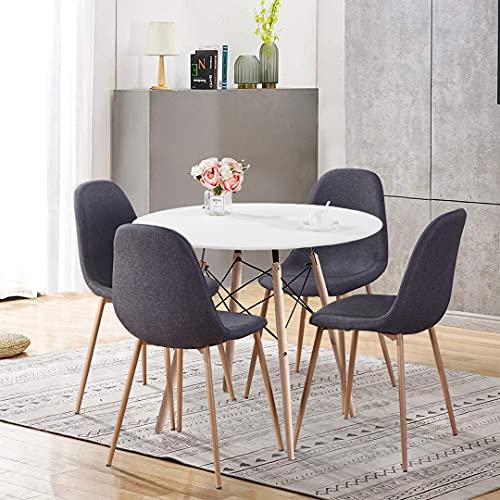 GOLDFAN Round Wooden Dining Table and Set 4 Chairs Matte Paint Kitchen Table and Fabric Dining Chairs for Small Space Room, Grey