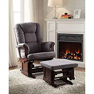 Glider and Ottoman, HABITIRO Gray Microfiber Cushion & Cherry Wood Frame Glider Chair with Foot Support Ottoman, Padded Seat & Back Seating Furniture for Nursery Room