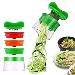 Cortador de Verduras Cortador en espiral Rallador de Verduras Mano con 3 Cuchillas Para Zanahoria, Pepino, Papa, Calabaza, Calabacín