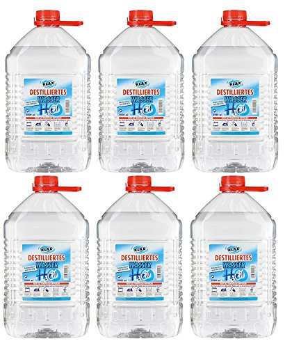 VECARO Agua Destilada 30 litros 6 bidones de 5 litros cada uno