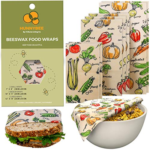 HUNNYBEEE Beeswax Reusable Food Wraps - (7 packs) Beeswax Wrap Sustainable Products, Organic Wax Wrap, Eco-friendly Bees Wrap, Organization Storage Bags, Cheese Bee Wrappers Cling, Wax Paper for Food